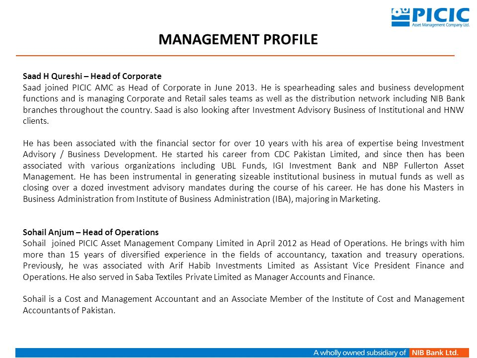 MANAGEMENT PROFILE Saad H Qureshi – Head of Corporate