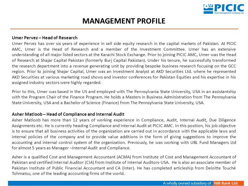 MANAGEMENT PROFILE Umer Pervez – Head of Research