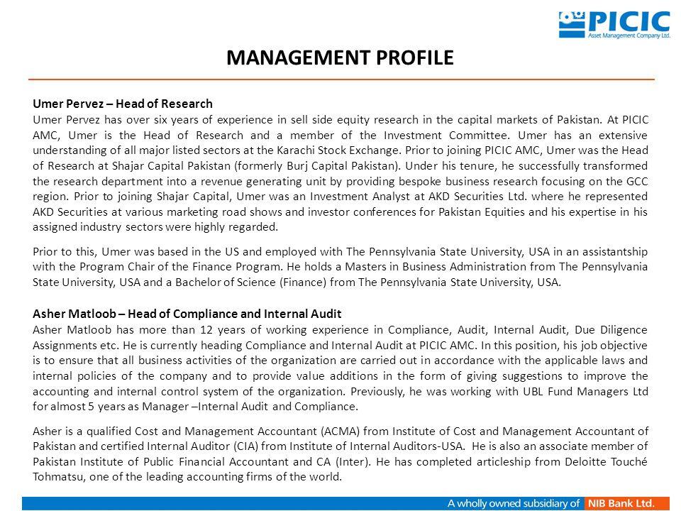 MANAGEMENT PROFILE Umer Pervez – Head of Research