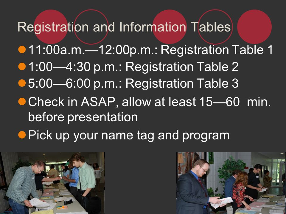 Registration and Information Tables
