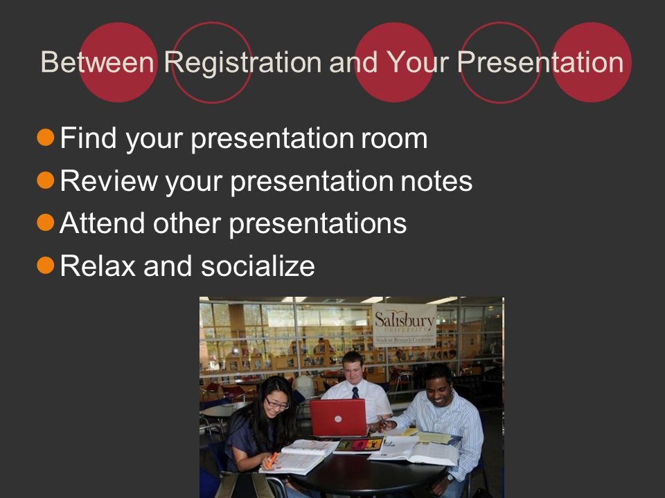 Between Registration and Your Presentation