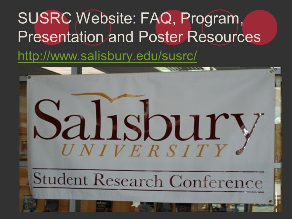 SUSRC Website: FAQ, Program, Presentation and Poster Resources
