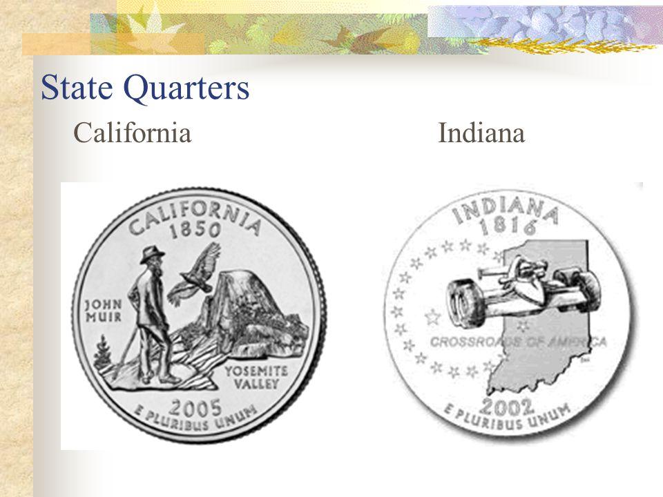 State Quarters California Indiana