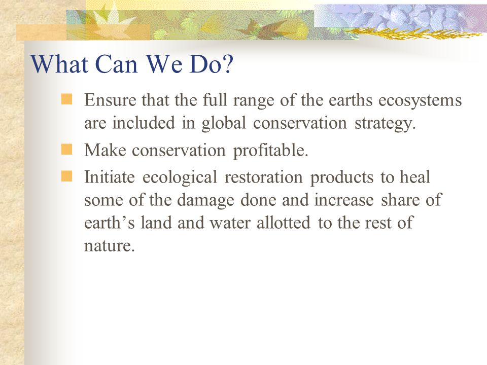 What Can We Do Ensure that the full range of the earths ecosystems are included in global conservation strategy.