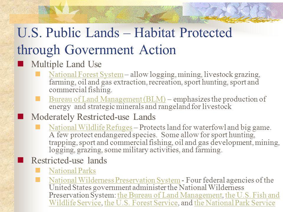 U.S. Public Lands – Habitat Protected through Government Action