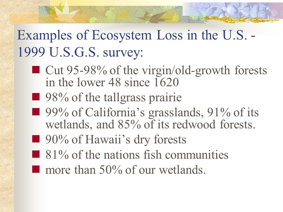 Examples of Ecosystem Loss in the U.S. - 1999 U.S.G.S. survey: