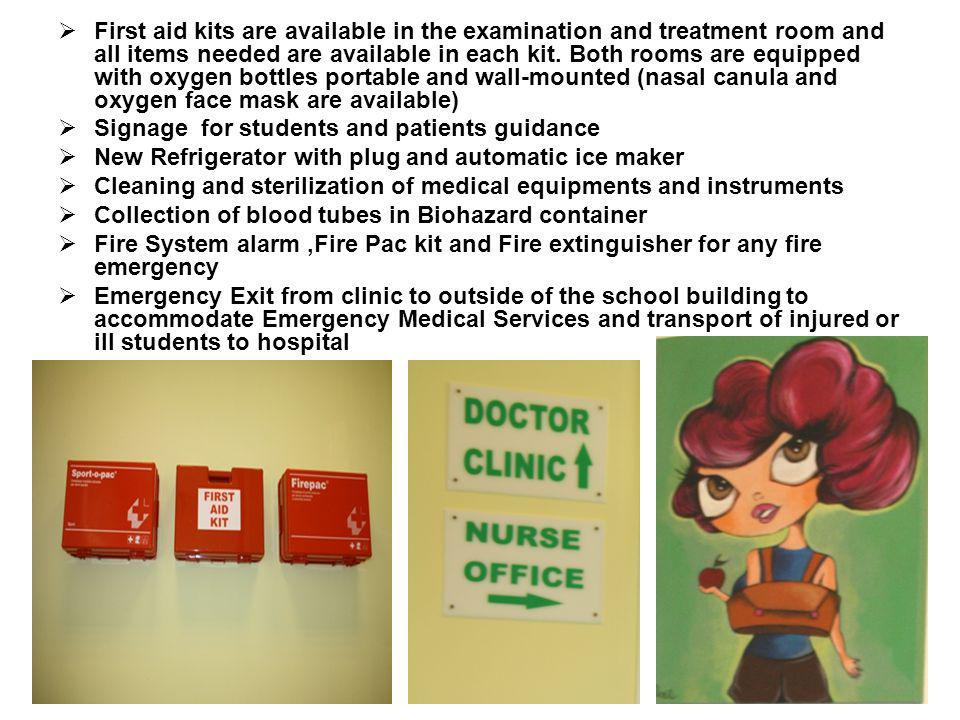 First aid kits are available in the examination and treatment room and all items needed are available in each kit. Both rooms are equipped with oxygen bottles portable and wall-mounted (nasal canula and oxygen face mask are available)