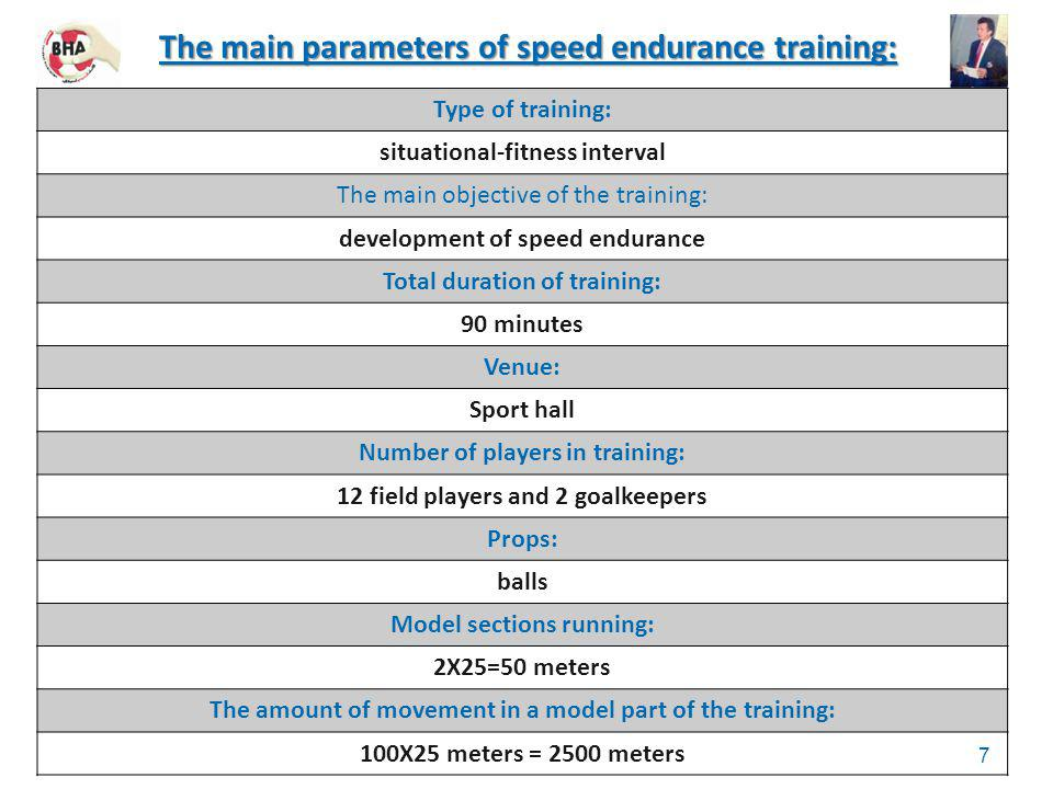 The main parameters of speed endurance training:
