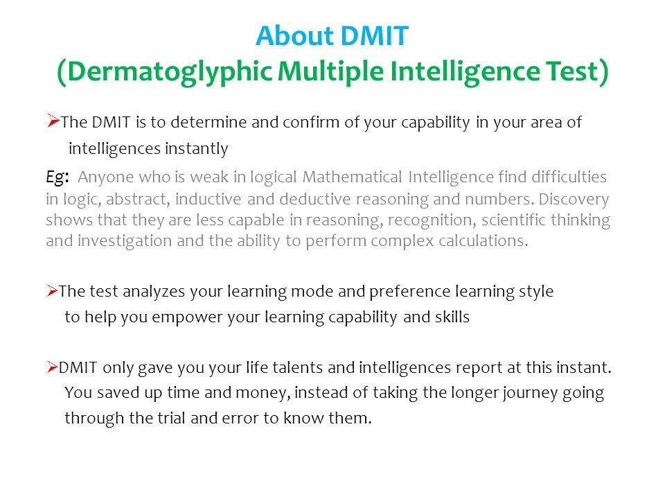 About DMIT (Dermatoglyphic Multiple Intelligence Test)