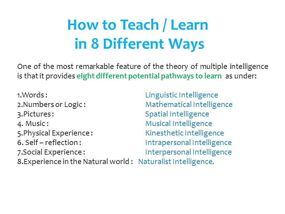 How to Teach / Learn in 8 Different Ways