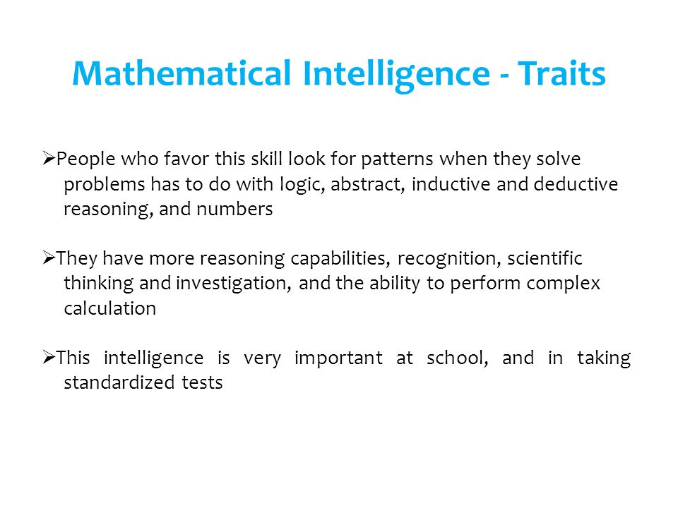 Mathematical Intelligence - Traits