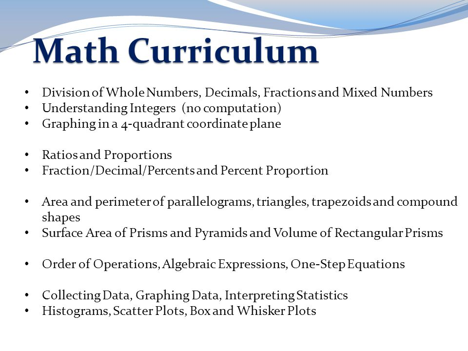 Math Curriculum Division of Whole Numbers, Decimals, Fractions and Mixed Numbers. Understanding Integers (no computation)