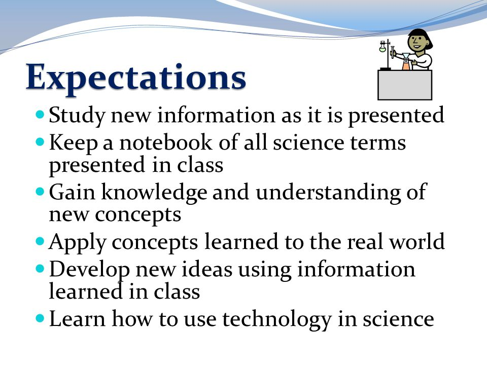 Expectations Study new information as it is presented
