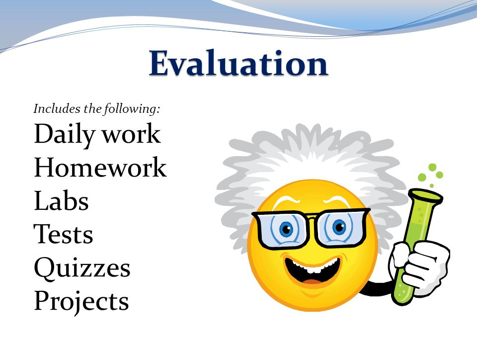 Evaluation Daily work Homework Labs Tests Quizzes Projects