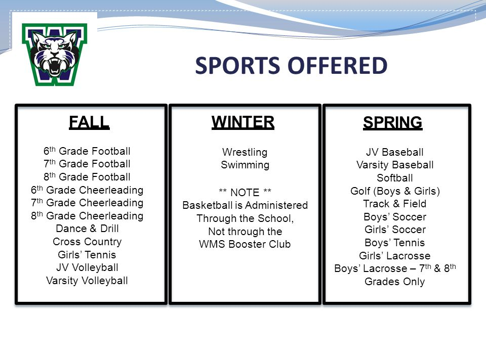 SPORTS OFFERED FALL WINTER SPRING 6th Grade Football