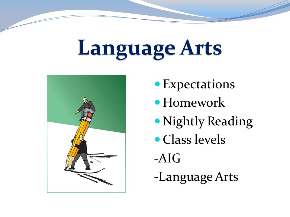 Language Arts Expectations Homework Nightly Reading Class levels -AIG