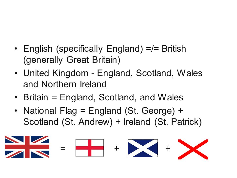National Identity English (specifically England) =/= British (generally Great Britain)