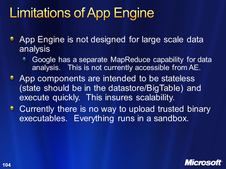Limitations of App Engine