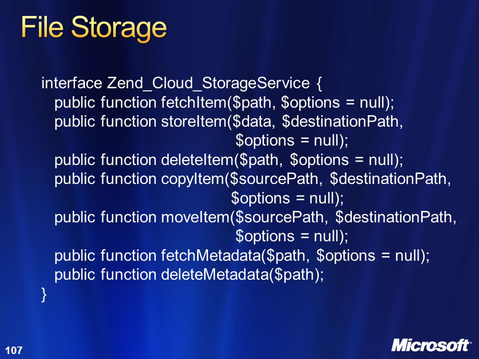 File Storage interface Zend_Cloud_StorageService {
