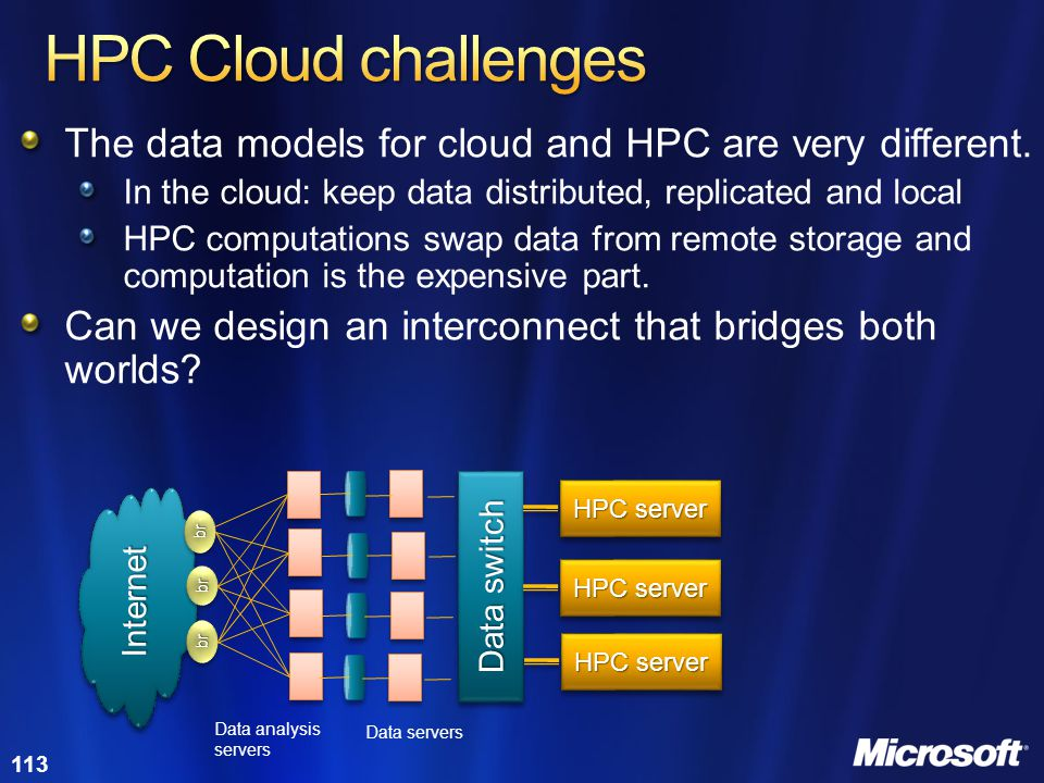 HPC Cloud challenges The data models for cloud and HPC are very different. In the cloud: keep data distributed, replicated and local.