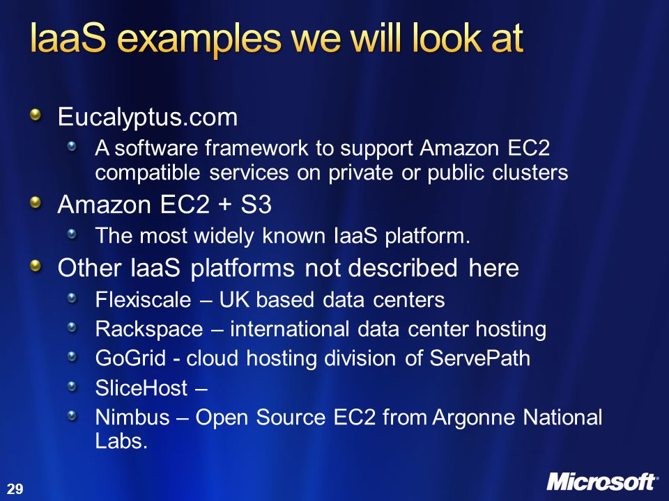 IaaS examples we will look at