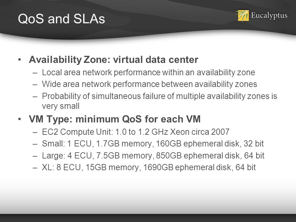 QoS and SLAs Availability Zone: virtual data center