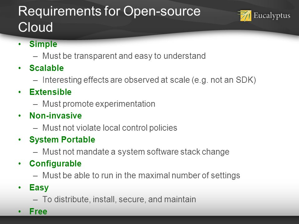 Requirements for Open-source Cloud