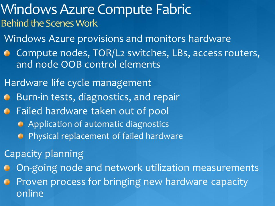 Windows Azure Compute Fabric Behind the Scenes Work