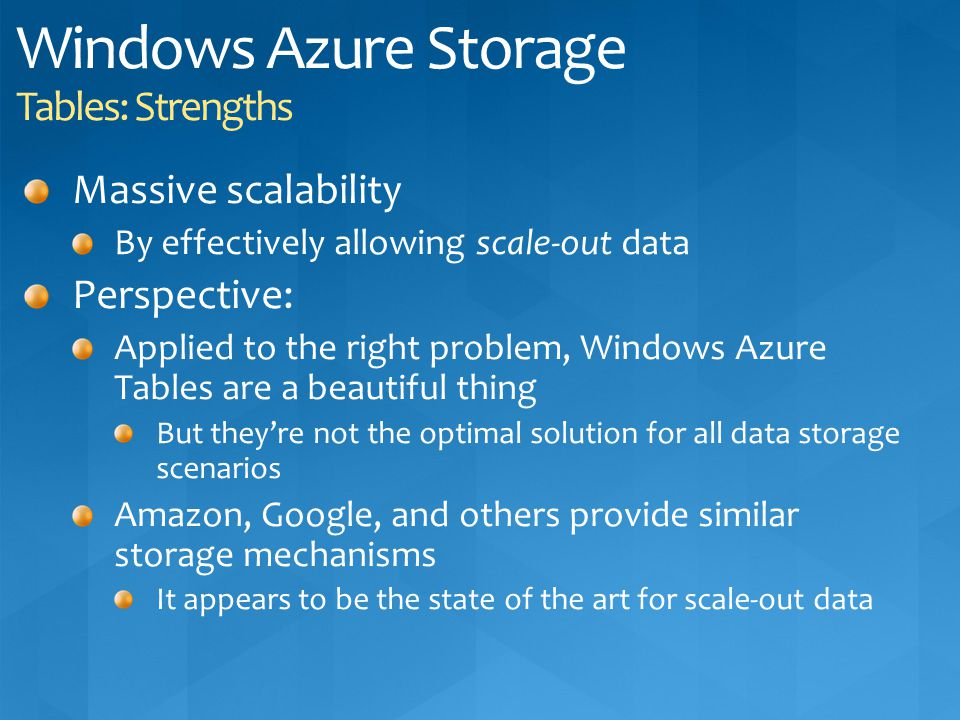 Windows Azure Storage Tables: Strengths
