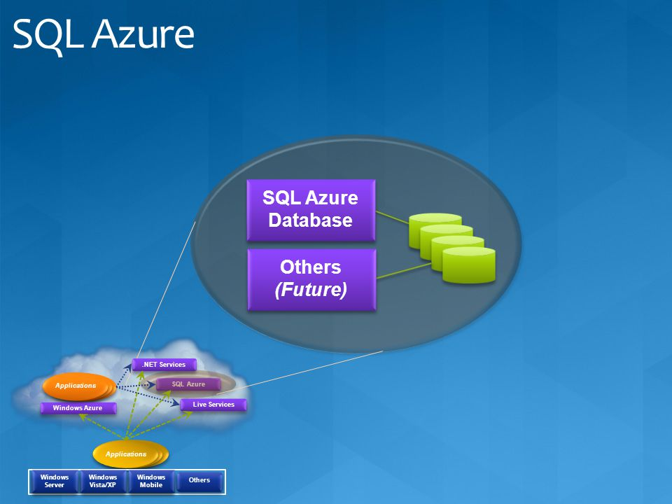 SQL Azure SQL Azure Database Others (Future) .NET Services