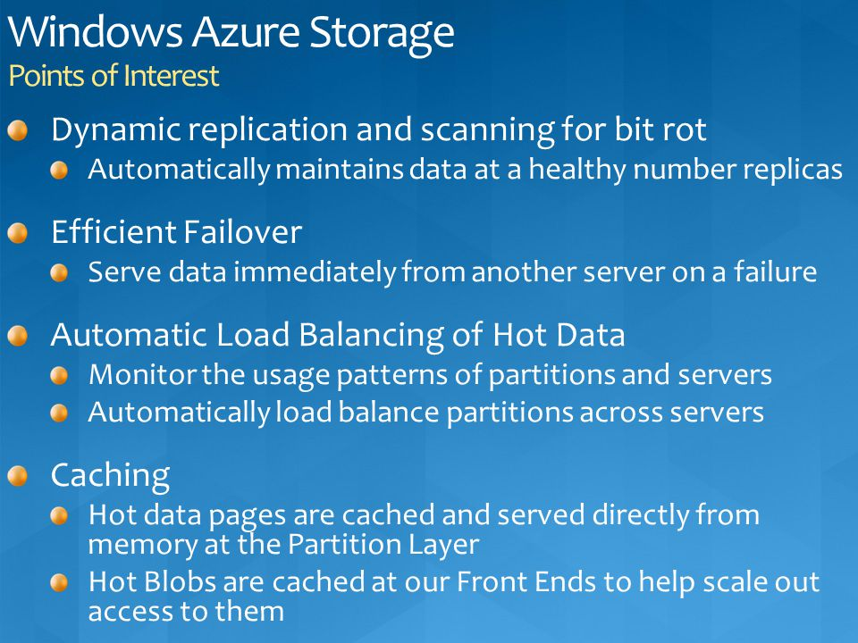 Windows Azure Storage Points of Interest