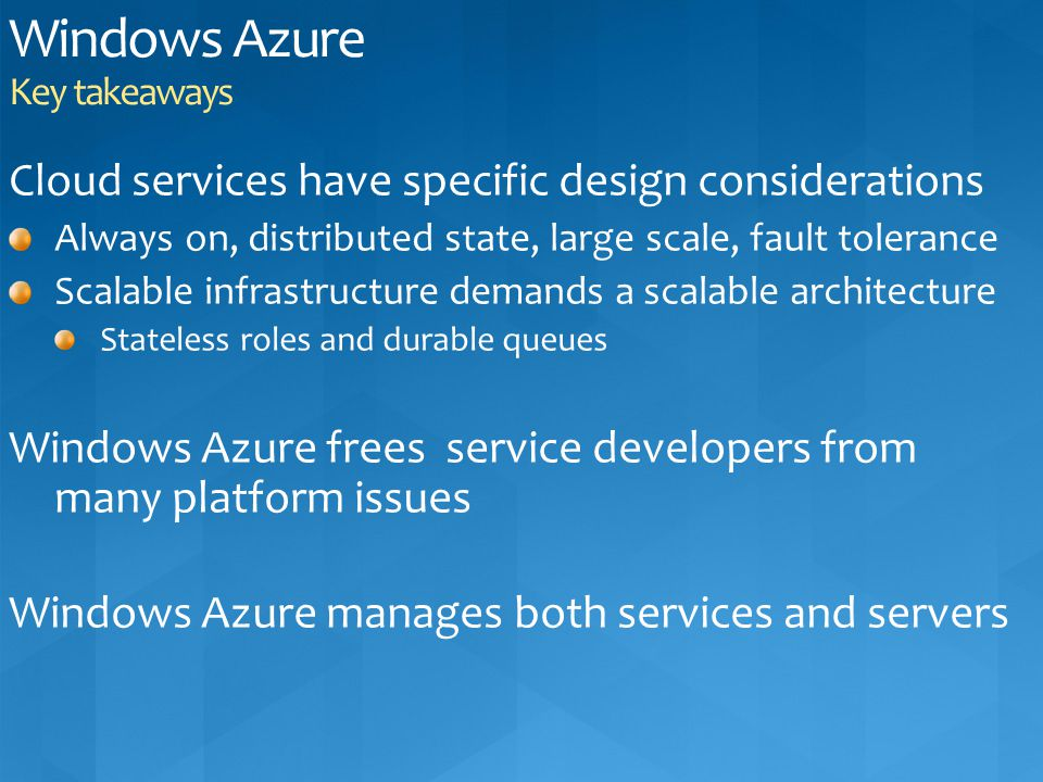 Windows Azure Key takeaways