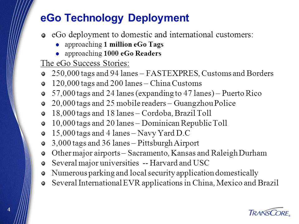 eGo Technology Deployment