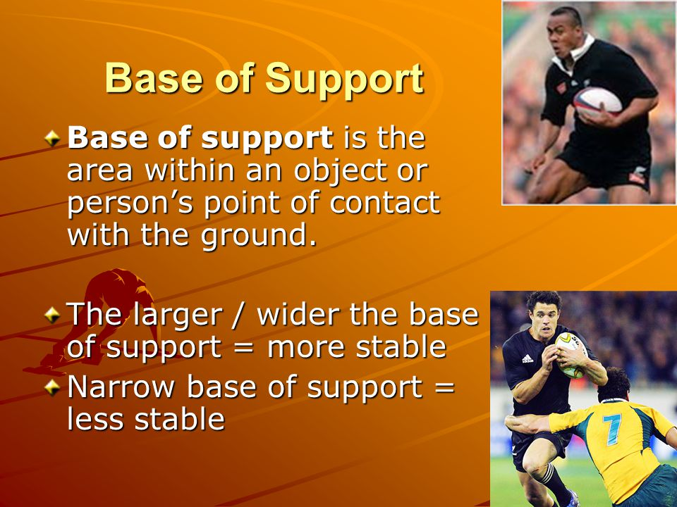 Base of Support Base of support is the area within an object or person's point of contact with the ground.