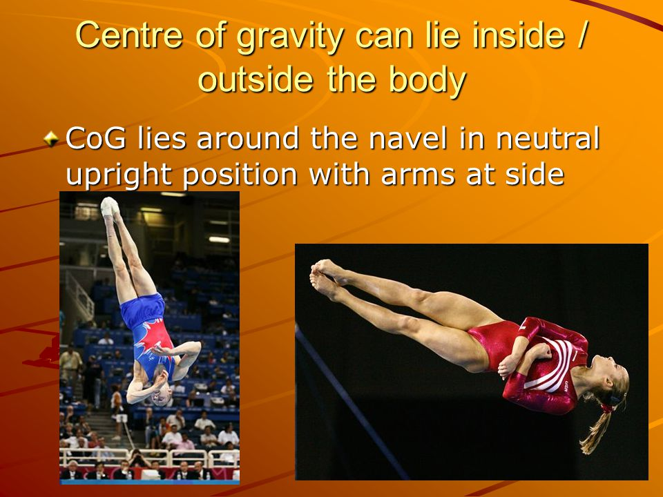 Centre of gravity can lie inside / outside the body