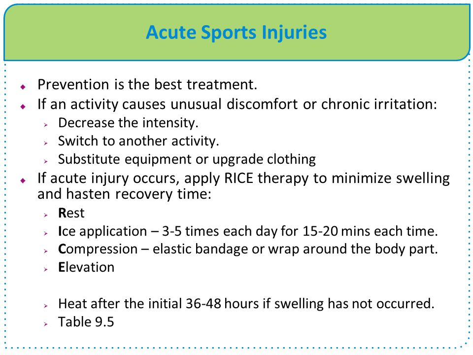 Acute Sports Injuries Prevention is the best treatment.