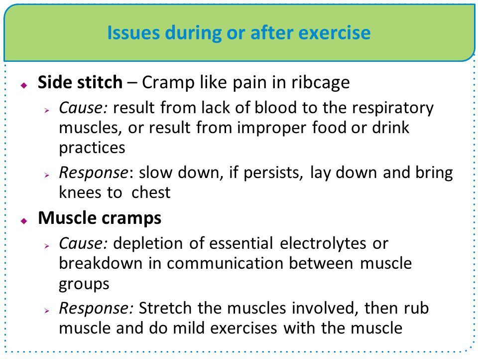 Issues during or after exercise