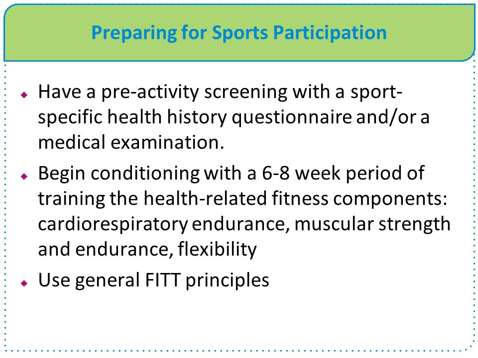 Preparing for Sports Participation