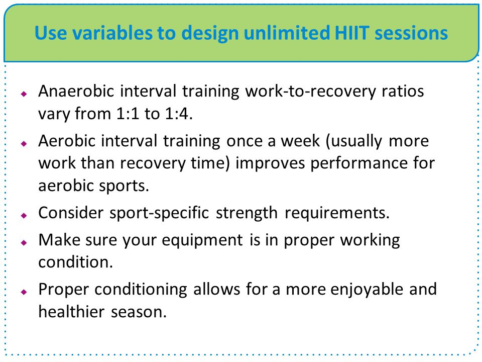 Use variables to design unlimited HIIT sessions
