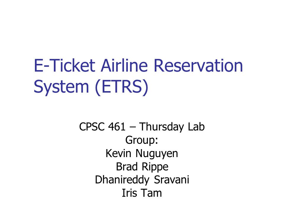 E-Ticket Airline Reservation System (ETRS)