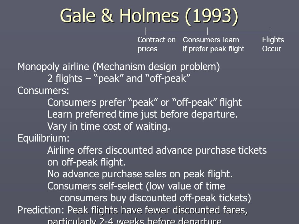 Gale & Holmes (1993) Monopoly airline (Mechanism design problem)