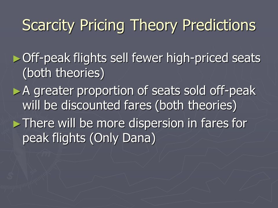 Scarcity Pricing Theory Predictions
