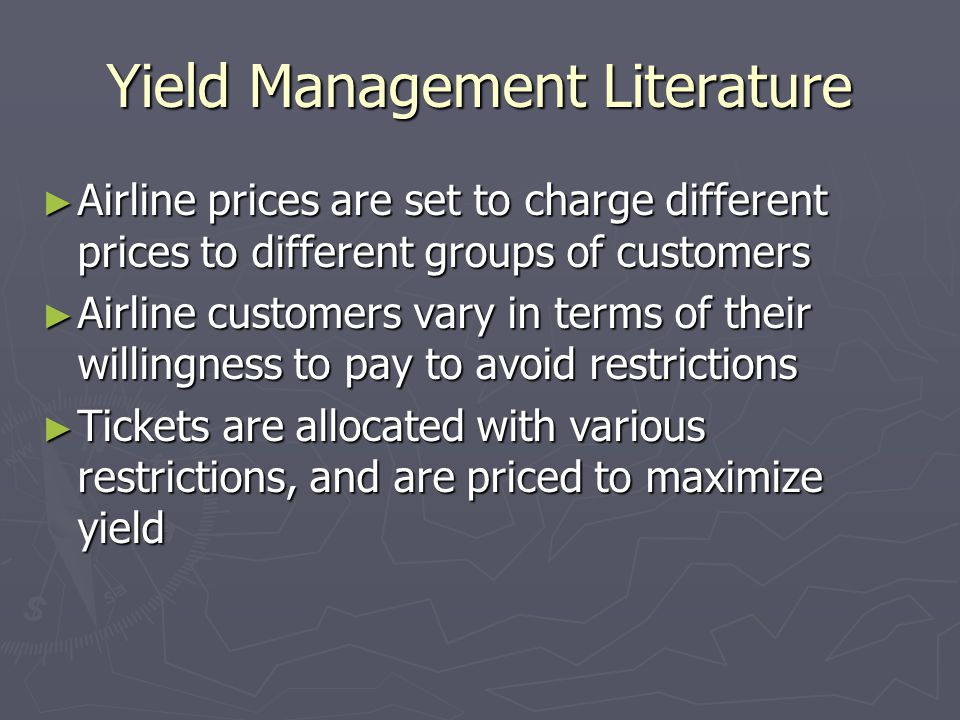 Yield Management Literature
