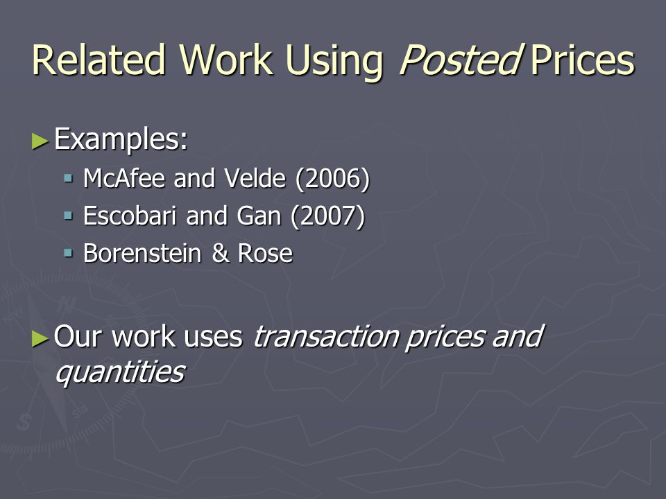 Related Work Using Posted Prices
