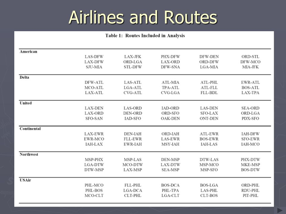 Airlines and Routes Almost exclusively HUB airports.