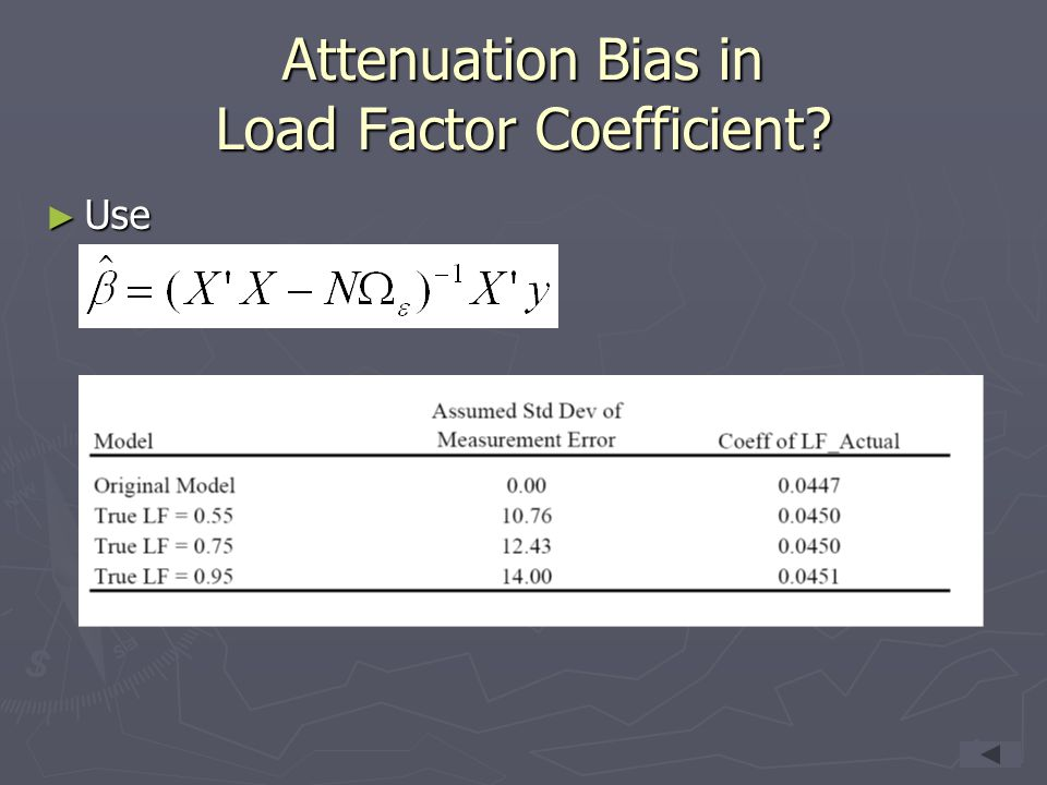 Attenuation Bias in Load Factor Coefficient