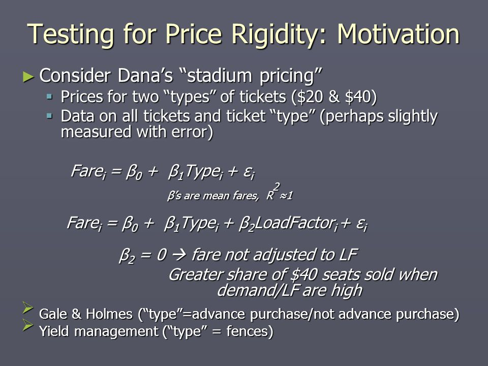 Testing for Price Rigidity: Motivation