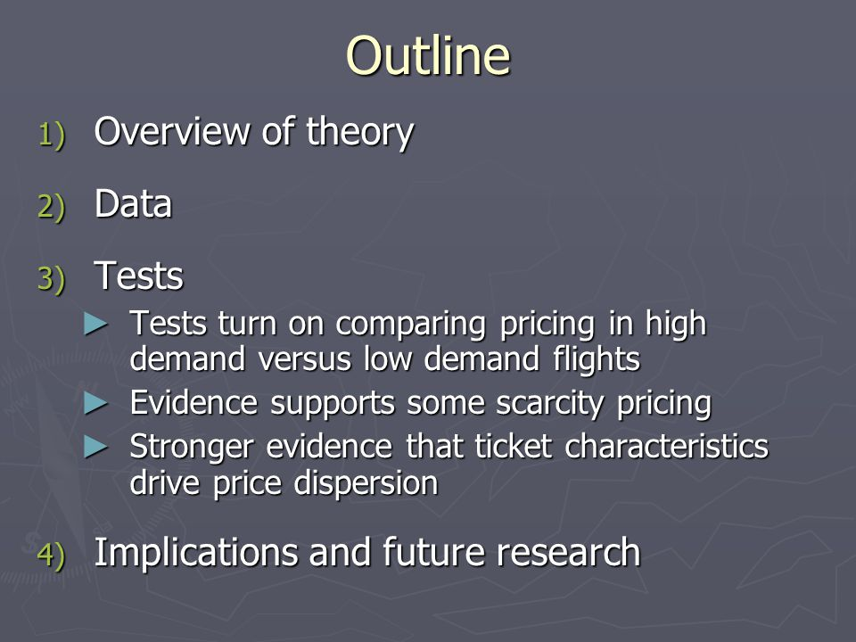Outline Overview of theory Data Tests Implications and future research