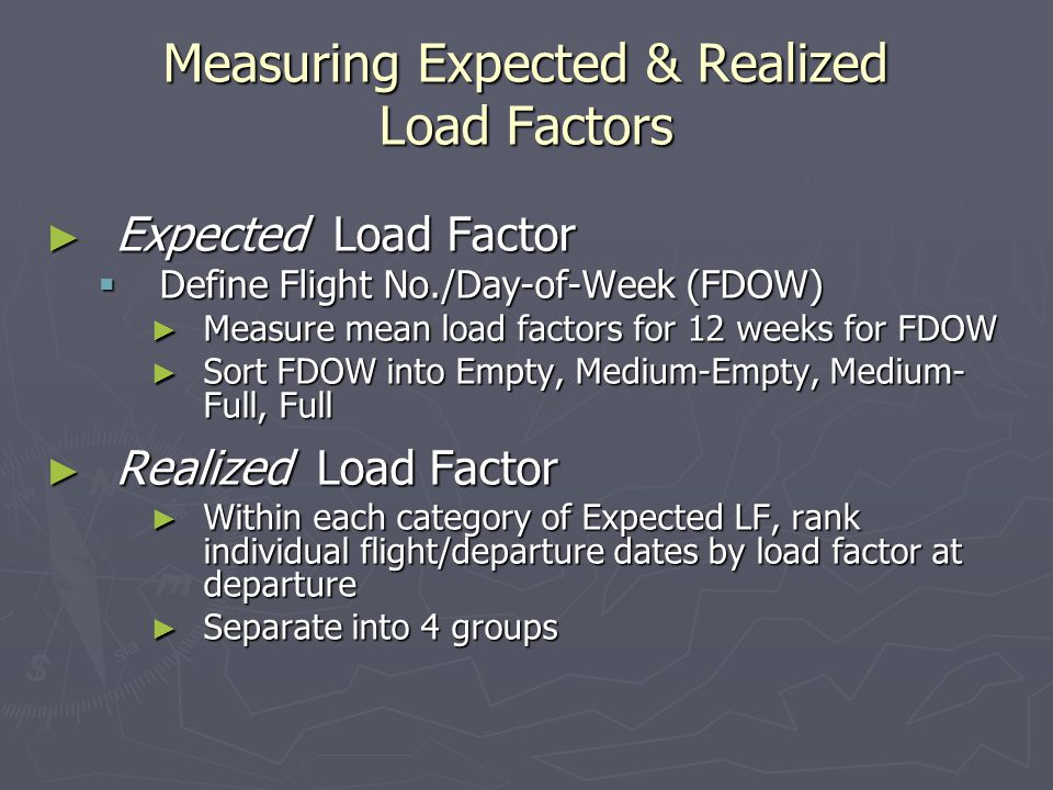 Measuring Expected & Realized Load Factors