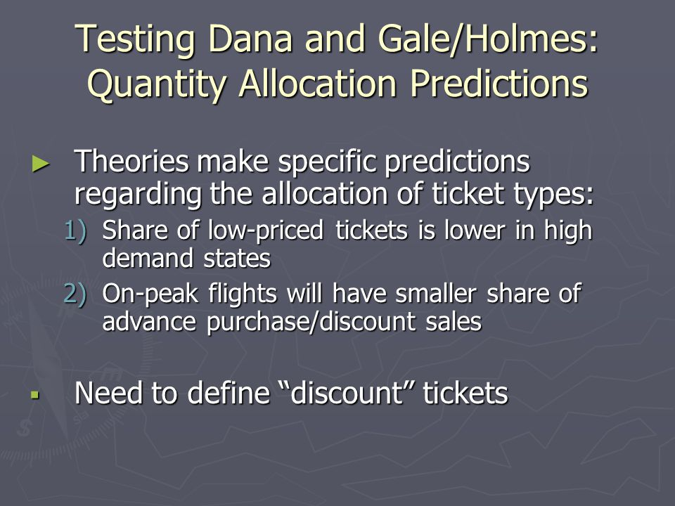 Testing Dana and Gale/Holmes: Quantity Allocation Predictions